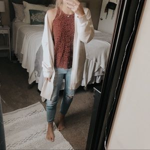 Hollister Maroon High Neck Lace Knit Tank Top